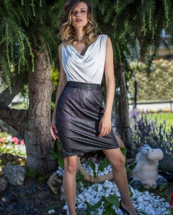 Black eco-leather pencil skirt